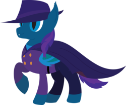 Size: 5488x4534 | Tagged: safe, artist:tikibat, derpibooru exclusive, oc, oc only, oc:stardust, oc:stardust(cosmiceclipse), bat pony, pony, bat pony oc, bat wings, cape, clothes, darkwing duck, ear fluff, fangs, hat, lineless, male, membranous wings, simple background, slit eyes, slit pupils, solo, stallion, transparent background, vector, wings