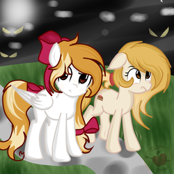 Size: 3000x3000 | Tagged: artist:applerougi, bow, earth pony, female, hair bow, mare, oc, oc:cremita, oc:kiddle, oc only, pegasus, pony, safe, tail bow