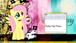 Size: 1920x1080 | Tagged: safe, angel bunny, fluttershy, pegasus, pony, rabbit, animal, buttons, desktop, document, female, flower, font, mare, microsoft, smiling, solo, wallpaper, windows, windows 7, wings, wordpad