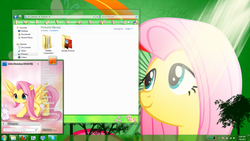 Size: 1600x900 | Tagged: safe, fluttershy, pony, buttons, desktop, female, mare, microsoft, panel, smiling, windows, windows 7, windows 7 skin, windows 7 theme