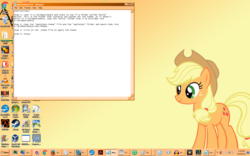 Size: 1439x899   Tagged: safe, applejack, pony, buttons, female, mare, microsoft, notebook, notepad, smiling, wallpaper, windows, windows 7