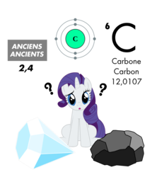 Size: 1024x1153 | Tagged: safe, artist:zefrenchm, rarity, pony, unicorn, atom, carbon, coal, diamond, periodic table, question mark, simple background, solo, transparent background