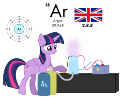 Size: 1023x823 | Tagged: safe, artist:zefrenchm, twilight sparkle, alicorn, pony, adorkable, argon, atom, bulb, cute, dork, female, flag, periodic table, simple background, solo, transparent background, twilight sparkle (alicorn), united kingdom