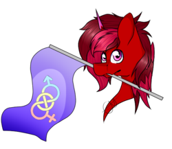 Size: 539x467 | Tagged: safe, artist:chazmazda, oc, oc only, pony, unicorn, bisexual, bust, commission, flag, mouth hold, shade, simple background, solo, symbol, transparent background, your character here