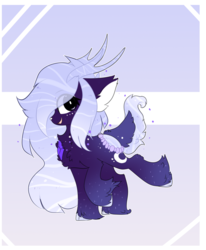 Size: 2000x2430 | Tagged: safe, artist:little-sketches, oc, oc:lavender prisma, deer, deer pony, original species, pond pony, chest fluff, chibi, cute, ear fluff, eye clipping through hair, female, high res, solo, unshorn fetlocks