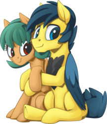 Size: 1039x1200 | Tagged: 2020 community collab, artist:mysticalpha, blank flank, chest fluff, derpibooru community collaboration, derpibooru exclusive, father and daughter, female, filly, freckles, hug, looking at you, male, oc, oc:jade bangs, oc only, oc:tinkerwing, pegasus, pony, safe, simple background, sitting, smiling, stallion, transparent background