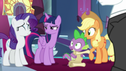 Size: 1920x1080 | Tagged: alicorn, applejack, between dark and dawn, dragon, fancypants, rarity, safe, screencap, scroll, spike, spoiler:s09e13, twilight sparkle, twilight sparkle (alicorn), winged spike