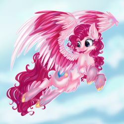 Size: 2000x2000 | Tagged: artist:neobubbles, colored wings, flying, g5, leak, multicolored wings, pegasus, pegasus pinkie pie, pinkie pie, pinkie pie (g5), pony, race swap, safe, sky, solo, spoiler:g5, wings