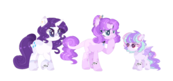 Size: 1124x528 | Tagged: alternate design, artist:moon-rose-rosie, colt, dracony, dragon, earth pony, female, hybrid, interspecies offspring, male, oc, oc:esmeralda persephone, oc:pastel bubblegum, offspring, parent:rarity, parent:spike, parents:sparity, pony, rarity, safe, simple background, transparent background, unicorn