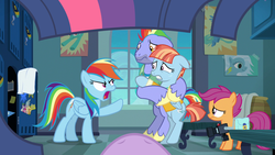 Size: 1280x720 | Tagged: angry, artist:charleston-and-itchy, bow hothoof, camera, edit, edited screencap, offscreen character, parental glideance, pov, rainbow dash, safe, scootaloo, screencap, twilight sparkle, windy whistles, worried, yelling