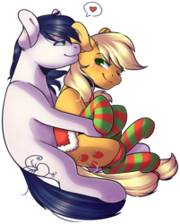 Size: 801x998 | Tagged: safe, artist:ak4neh, applejack, oc, oc:constance everheart, earth pony, pony, canon x oc, clothes, couple, everjack, female, holiday, male, mare, saddle, shipping, simple background, socks, stallion, straight, striped socks, tack, transparent background