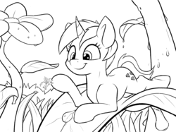 Size: 1646x1234 | Tagged: safe, artist:tsitra360, oc, oc only, oc:der, oc:tinisparkler, griffon, pony, unicorn, dew, duo, flower, leaves, micro, monochrome, nano, plant, sketch, water drops