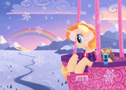 Size: 1538x1100 | Tagged: artist:sonnatora, bird, clothes, cloud, field, hot air balloon, mountain, oc, oc only, owl, pony, rainbow, river, safe, scarf, scenery, snow, snowfall, solo, unicorn, winter