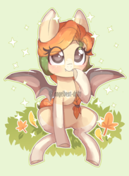 Size: 2170x2970 | Tagged: safe, artist:angelbeat-drift, oc, oc only, oc:autumn harvest, bat pony, pony, bat pony oc, blushing, braid, bun, colored hooves, eye clipping through hair, female, looking at you, mare, sitting, smiling, solo, sparkles, wings