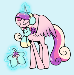 Size: 1299x1309   Tagged: safe, artist:typhwosion, princess cadance, princess flurry heart, alicorn, pony, best gift ever, :p, baby, baby pony, blue background, clothes, cute, cutedance, dot eyes, duo, earmuffs, eyes closed, female, flurrybetes, magic, mare, missing cutie mark, mother and daughter, scarf, simple background, star flurry heart, telekinesis, tongue out, winter