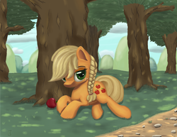 Size: 3300x2550   Tagged: safe, artist:midwestbrony, applejack, earth pony, pony, alternate hairstyle, apple, braid, cute, female, food, forest, hatless, high res, jackabetes, mare, missing accessory, prone, solo, tree