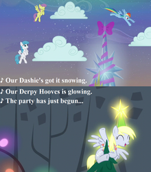Size: 960x1090 | Tagged: safe, edit, edited screencap, screencap, derpy hooves, lightning bolt, parasol, rainbow dash, white lightning, a hearth's warming tail, bow, cloud, cropped, cute, derpabetes, derpy star, g3, g3 to g4, generation leap, hearth's warming eve, hearth's warming lights, hearth's warming tree, lyrics, snow, song reference, text, that's what i love about christmas, tree, twilight's castle