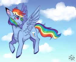 Size: 2100x1700 | Tagged: safe, artist:mintpencil, rainbow dash, pegasus, pony, belly fluff, chest fluff, cloud, colored ears, colored hooves, female, flying, leg fluff, mare, sky, solo