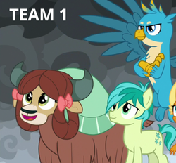 Size: 602x558 | Tagged: cropped, dragon, edit, edited screencap, gallus, griffon, offscreen character, pony, quartet, safe, sandbar, screencap, smolder, spoiler:s09e24, spoiler:s09e25, text, the ending of the end, trio focus, yak, yona