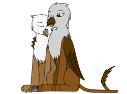Size: 1620x1205   Tagged: safe, artist:somber, oc, oc only, oc:kasimir longtalons, griffon, fallout equestria, colored, cute, duo, eyes closed, fallout equestria: longtalons, female, flat colors, hug, male, smiling
