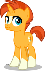 Size: 4000x6330 | Tagged: absurd resolution, artist:orin331, cute, cutie mark, male, pony, safe, scrunchy face, simple background, socks (coat marking), solo, sunburst, teenager, transparent background, unicorn, younger