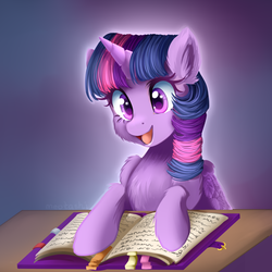 Size: 1350x1350 | Tagged: alicorn, artist:meotashie, book, cheek fluff, chest fluff, cute, ear fluff, female, friendship journal, leg fluff, mare, open mouth, pony, safe, solo, twiabetes, twilight sparkle, twilight sparkle (alicorn), wing fluff