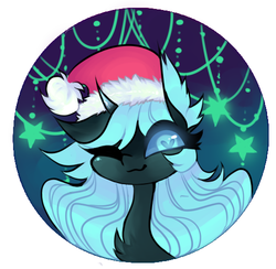 Size: 502x489 | Tagged: artist:minty--fresh, changeling, christmas, christmas changeling, cute, hat, heart eyes, holiday, oc, oc:minty fresh, one eye closed, profile picture, safe, solo, spider, spiderling, wingding eyes, wink