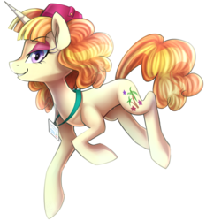 Size: 1370x1470 | Tagged: safe, artist:meotashie, tropical dream, pony, unicorn, background pony, cute, female, hat, lidded eyes, looking at you, mare, name tag, profile, simple background, solo, transparent background