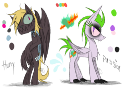 Size: 1385x985 | Tagged: artist:didun850, duo, female, hybrid, oc, oc:hurry, oc only, oc:passion, original species, parent:rainbow dash, parents:canon x oc, reference sheet, safe, simple background, slit eyes, transparent background, wings