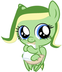 Size: 770x888 | Tagged: artist:didgereethebrony, baby, baby bottle, base used, diaper, female, filly, looking at you, oc, oc:boomerang beauty, pegasus, pony, safe, simple background, solo, trace, transparent background