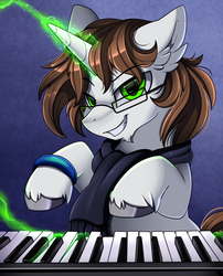 Size: 1424x1764 | Tagged: artist:pridark, bust, clothes, cloven hooves, commission, glasses, glowing horn, green eyes, horn, looking at you, magic, musical instrument, oc, oc:tai, piano, pony, portrait, safe, scarf, smiling, solo, telekinesis, unicorn, unshorn fetlocks