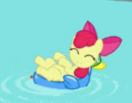 Size: 190x148 | Tagged: safe, screencap, apple bloom, earth pony, pony, twilight time, adorable face, adorabloom, bow, cropped, cute, happy, laying back, picture for breezies, pool toy, smiling, solo, swimming pool, water