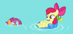 Size: 292x136 | Tagged: safe, screencap, apple bloom, scootaloo, earth pony, pegasus, pony, twilight time, adorable face, adorabloom, bow, cute, happy, laying back, peek, picture for breezies, pool toy, popping out, smiling, swimming, swimming pool, water, wet mane