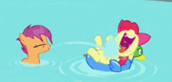 Size: 306x146 | Tagged: above, adorable face, adorabloom, apple bloom, blasting, bow, cute, laughing, laying back, pool toy, safe, scootaloo, screencap, spitting, swimming, swimming pool, twilight time, water, wet mane