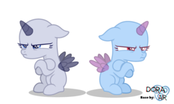 Size: 2520x1506   Tagged: safe, artist:doraair, oc, oc only, alicorn, pony, alicorn oc, base, crossed arms, duo, female, filly, frown, mare, palindrome get, simple background, transparent background