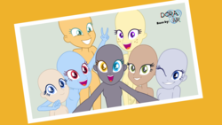 Size: 4000x2250   Tagged: safe, alternate version, artist:doraair, equestria girls, base, group photo, heterochromia, one eye closed, open mouth, peace sign, selfie, smiling, wink