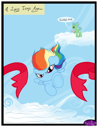 Size: 3500x4500 | Tagged: artist:becauseimpink, cloud, comic, comic:transition, dialogue, female, filly, filly rainbow dash, flying, mare, oc, oc:featherdown, on a cloud, rainbow dash, safe, transgender, younger