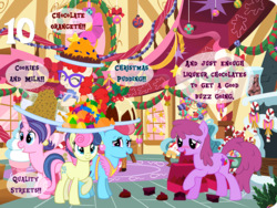 Size: 1024x768 | Tagged: advent calendar, artist:bronybyexception, berry punch, berryshine, bon bon, chocolate, chocolate liqueurs, chocolate orange, christmas, christmas pudding, cookie, cookie crumbles, cookies and milk, cup cake, drunk, drunk bubbles, earth pony, food, holiday, pony, quality street, safe, sweetie drops, twist, unicorn