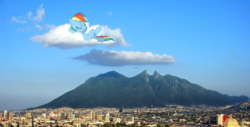 Size: 1200x610 | Tagged: safe, artist:max rider, rainbow dash, pegasus, pony, female, irl, mare, mexico, monterrey, mountain, photo, ponies in real life