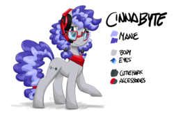 Size: 6000x4000 | Tagged: safe, artist:flutterthrash, oc, oc:cinnabyte, pony, adorkable, bandana, cute, dork, gaming headphones, headphones, reference sheet