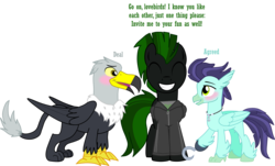Size: 3211x1945 | Tagged: amputee, artist:shadymeadow, blushing, classical hippogriff, clothes, griffon, hippogriff, hoodie, hook hand, male, oc, oc:anchor hook, oc:cyrax, oc:grant the griffon, oc only, pegasus, prosthetics, safe, stallion
