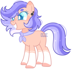 Size: 2240x2144 | Tagged: artist:kurosawakuro, artist:toffeelavender, ascot, base used, ear piercing, earth pony, female, oc, oc only, offspring, parent:clear skies, parent:quibble pants, parents:quibblesky, piercing, pony, safe, simple background, smiling, socks (coat marking), solo, transparent background