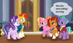 Size: 1392x833 | Tagged: and that's how luster dawn was made, artist:oatscene, artist:phucknuckl, artist:sonofaskywalker, female, firelight, luster dawn, male, parent:firelight, parent:stellar flare, safe, shipping, speech bubble, starlight glimmer, stellar flare, stellarlight, straight, sunburst, surprised, text, that pony sure does want grandfoals, theory, vector