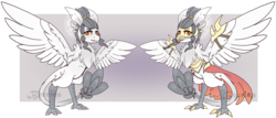 Size: 1280x546 | Tagged: armor, artist:its-sweet-berry, female, harpy, monster pony, oc, oc:talon frost, original species, reference sheet, safe, solo