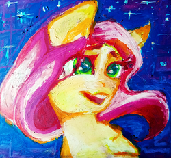 Size: 1754x1620   Tagged: safe, artist:haokan, fluttershy, pegasus, pony, cute, female, oil painting, oilpastel, pastel, smiley face, solo, traditional art