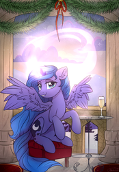 Size: 1279x1838 | Tagged: alicorn, artist:reterica, champagne, champagne glass, female, glowing horn, horn, looking at you, magic, mare, princess luna, safe, sitting, solo, spread wings, wings