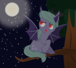 Size: 5000x4500 | Tagged: artist:northernthestar, bat ponified, bat pony, flitter, flitterbat, glowing eyes, moon, night, pony, race swap, red eyes, safe, solo, tree, tree branch