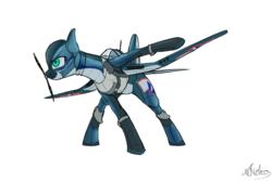 Size: 1500x1000   Tagged: safe, artist:andromailus, oc, oc only, original species, plane pony, pony, f4u corsair, plane, simple background, solo, white background