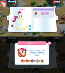 Size: 1280x1440 | Tagged: safe, roseluck, earth pony, pony, background pony, bio, female, game screencap, gameloft, gem, mare, rhyme, stars