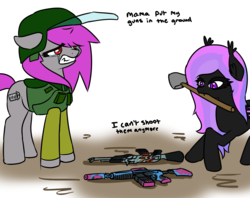 Size: 2000x1581 | Tagged: safe, artist:fluor1te, oc, oc:alilyia, oc:fluorite, bat pony, earth pony, pony, ak-47, assault rifle, body armor, clothes, colored, counter-strike, crying, dirt, fangs, female, flat colors, gun, guns n roses, helmet, kevlar, lyrics, m4a1, mare, rifle, sad, shovel, teeth, text, visor, weapon